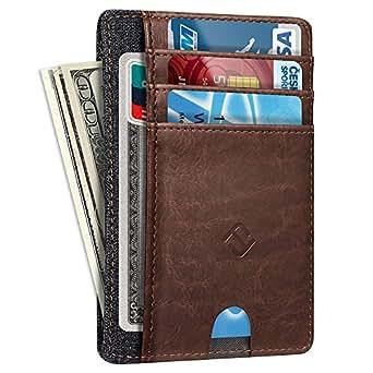 Slim Minimalist Wallet Card Holder, Fintie RFID Blocking Money Pocket with ID Window Credit Card Slot Cases - brown - Small