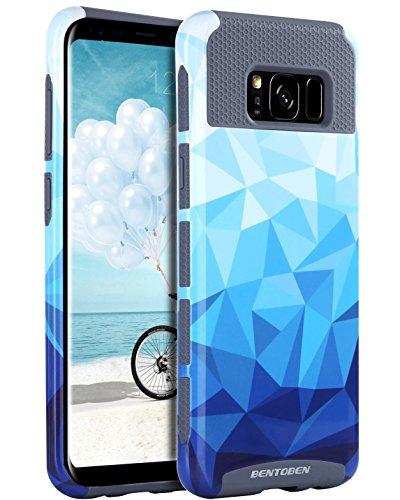 (Galaxy S8 Case, S8 Case, BENTOBEN Shockproof Slim 2 in 1 Hybrid Hard PC Soft TPU Stylish Geometric Diamond Pattern Textured Protective Case for Samsung Galaxy S8 2017(5.8 inch), Blue/Gray)