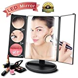 JIALANJIUYU Lighted Vanity Tri-Fold Makeup Mirror,the Brightest and Most Natural daylight Led Mirror,10X/5X/3X/1X Magnifying Vanity Mirror for Males & Females on the Early Morning or Travel makeup.
