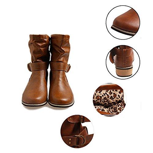 Marrone da Stivali Pelle Classico Nero in Hibote Scarpe Moda per Stivaletti Scarpe Marrone Donna Biker RqnY6wZ