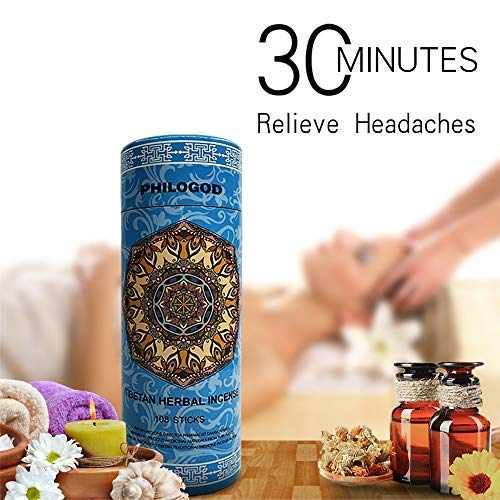Aromatherapy Incense for Stress Relief, Migraine Relief, and Zen Meditation, Incense Burner Holder Included, Pure, Herbal Tibetan Incense Sticks for Homeopathy