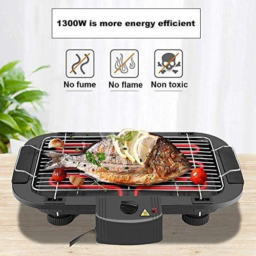 Barbecue électrique sans fumée à l'intérieur de la Table de Barbecue Barbecue Grill 1300W High Power fit Camping à la Maison Voyage Randonnée (1-6 Personnes utilisent)