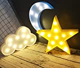 Decorative LED Crescent Moon Cloud and Star Night Lights Lamps Marquee...