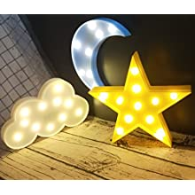 Decorative LED Crescent Moon Cloud and Star Night Lights Lamps Marquee Signs Letters for Baby Nursery Decorations Gifts for Children ( moon cloud and star )
