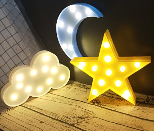 Decorative LED Crescent Moon Cloud and Star Night Lights Lamps Marquee Signs Letters for Baby Nursery Decorations Gifts for Children ( moon cloud and star -