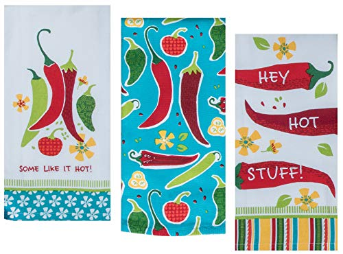 (3 Mexican Food Themed Decorative Cotton Kitchen Towel Set | 2 Tea and 1 Terry Towels with Red and Green Chilli Pepper Print for Dish and Hand Drying | by Kay Dee Designs)