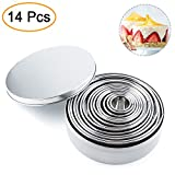 14pcs Stainless Steel Round Cake Molds Set Mousse and Pastry Mini Baking Ring Cookies Mould Kits Kitchen Multifunction Dumplings Wrappers Cutter Maker Tools (Boxed)