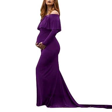 Pregnant Women Gown Maternity Wedding Party Long Prop Ruffle Trailing Maxi Dress
