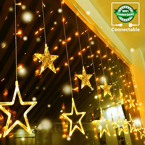 Quntis LED 12 Stars Curtain Lights - 138 LEDs Window Icicle Christmas Lights 8 Modes Decorative Backdrop Fairy String Lights for Outdoor Indoor Home Bedroom Wedding Party Holiday Wall, Warm White