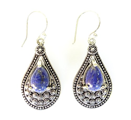 - Blue lapis-lazuli gemstone oxidized silver drop dangle earrings for women unique designer fashion earrings by artisan