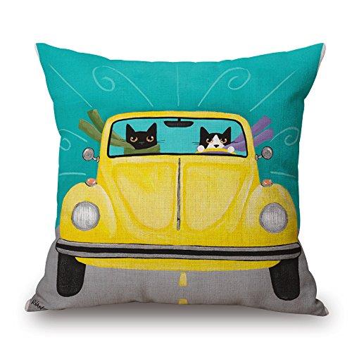 Elliot_yew Cotton Linen Decorative Square Cotton Linen Throw Pillow Covers Cushion Cute Cartoon Cat Animals Pillowcases 18 x 18 Inch-Pattern 1