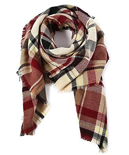 Warm Plaid Blanket Scarf Winter Large Square Oversized Tartan Checked Shawl Wrap
