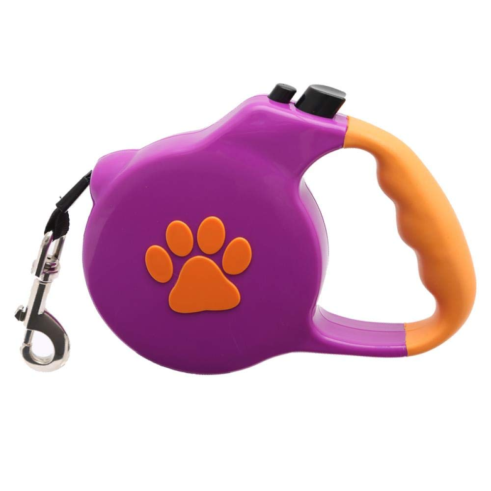 WINNER POP Retractable Pet Dog Leash 5m Heavy Duty Waterproof Belt Dog Walking Traction Belt Suitable for Small Medium Large Dog Up to 15kg, Purple