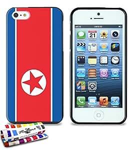 Carcasa Flexible Ultra-Slim APPLE IPHONE 5S / IPHONE SE de exclusivo motivo [Bandera Corea del Norte] [Negra] de MUZZANO  + ESTILETE y PAÑO MUZZANO REGALADOS - La Protección Antigolpes ULTIMA, ELEGANTE Y DURADERA para su APPLE IPHONE 5S / IPHONE SE