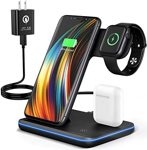 Wireless Charging Station, 2020 Upgraded Saferell 3 in 1 Qi-Certified Wireless Charger Stand with Breathing Indicator Compatible with iPhone 11 Pro/XS/XR/8, Samsung, Watch 6/SE/5/4/3 & AirPods