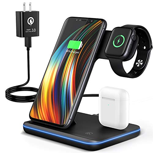 Wireless Charging Station, 2020 Upgraded Saferell 3 in 1 Qi-Certified Wireless Charger Stand with Breathing Indicator Compatible with iPhone 11 Pro/XS/XR/8, Samsung, Apple Watch 6/SE/5/4/3 & AirPods