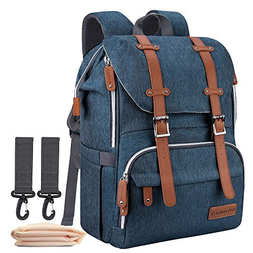 Diaper Bag Backpack, CANWAY Large Unisex Baby Bag Nappy Bag with Changing Pad, Travel Maternity bag Multi-Function Waterproof and Durable for Mom & Dad (Blue)