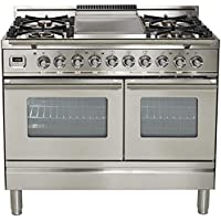 Ilve UPDW100FDMPI Pro Series 40 Dual Fuel Double Oven Range Griddle, Convection Oven, Warming Drawer Stainless Steel