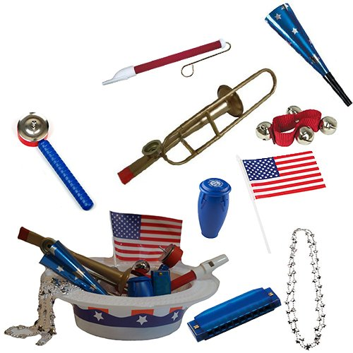 Labor Day Picnic / Parade Pack for Kids - Patriotic Music & Fun Pack Includes: Patriotic Party Hat: Silver Beaded USA Necklace, Blue Patriotic Party Horn, Trombone Kazoo, Red Slide (Harmonica Whistle)