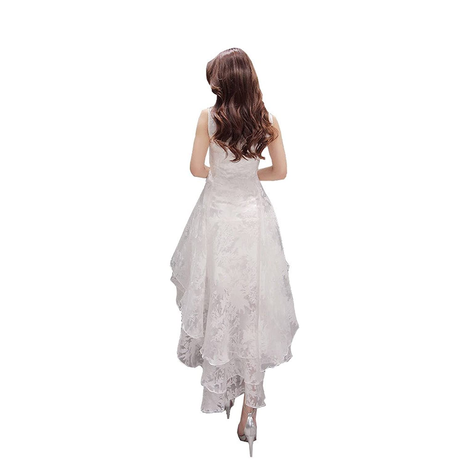 BIUBIUboom Women Organza Sweet Dresses White High Low Evening Party Maxi  Dress: Amazon.co.uk: Clothing