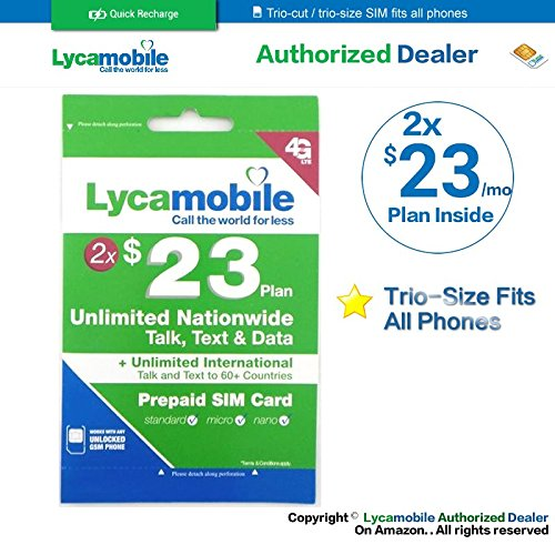 Lycamobile $23 plan preloaded sim card with 2 month service by Lycamobile