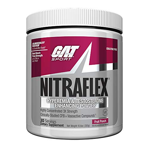 GAT - NITRAFLEX - Testosterone Boosting Powder, Increases Blood Flow,  Boosts Strength and