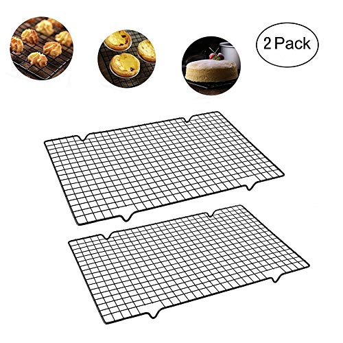 Enamel Cooling Rack Baking Rack Oven, Size 16''x10'',Thick Wire Heavy Duty Commercial Quality Wire Rack (2 PCS) (Quality Wire Rack) (Best Commercial Oven For Baking Cupcakes)
