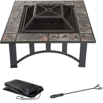 Fire Pit Set, Wood Burning Pit - Includes Screen, Cover and Log Poker - Great for Outdoor and Patio, 33 inch Square Marble Tile Firepit by Pure Garden