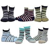 Naartjie Kids Boys Cotton Crew Striped Socks 6 Pack, 6-8 Years