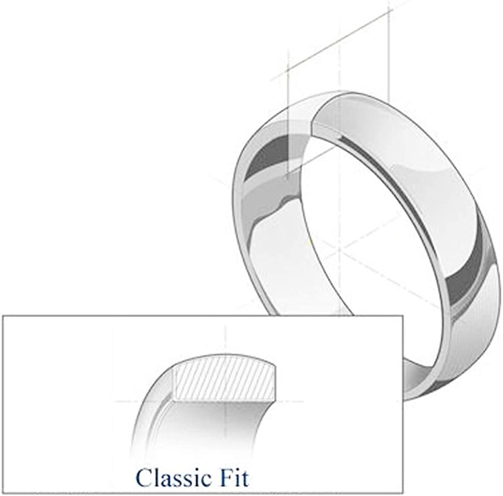 White Gold Solid 6mm CLASSIC FIT Milgrain Traditional Wedding Ring OR Wellingsale 14k Yellow