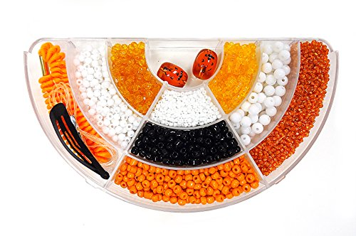 Linpeng 2 to 13mm Orange Hand Painted Halloween Pumpkin Glass Beads Seed Beads Plastic Beads In Various Shapes Gel Cord Hair Band and Hair Clip In Divider Bead Box For Jewelry making or Hair Decor DIY