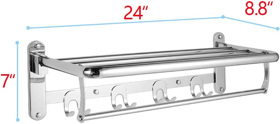 HOONEX Foldable Towel Rack for Bathroom Wall Mounted Silver 304 Stainless Towel Holder with Towel Hooks and Adjustable Towel Bar 24-Inch Bathroom Towel Shelf
