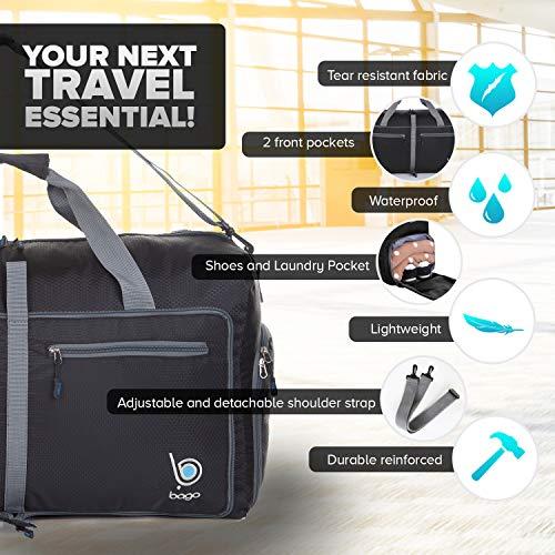"511cfxYPNFL - Bago 60L Packable Duffle bag - 23"" Foldable Travel Duffel bag (Black)"