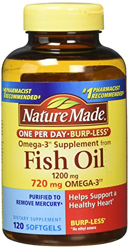 Nature Made One per Day Burpless Fish Oil 1200 mg w. Omega-3 720 mg Softgels 120 Ct