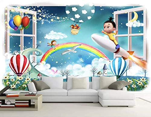 Murwall Kids Wallpaper Cartoon Little Kids Wall Mural Hot Air Balloon Wall Art 3D Rainbow Childroom Wall Decor Baby Room Girls Boys ()