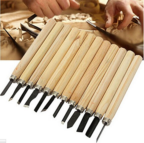 Product Wood Carving Knife: Shopline Professional 12 Pieces Wood Carving Chisel Set
