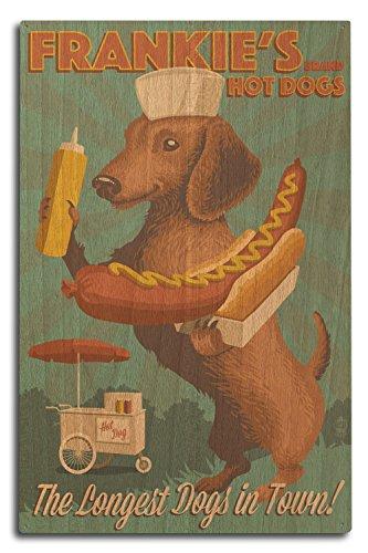 Lantern Press Dachshund - Retro Hotdog Ad (10x15 Wood for sale  Delivered anywhere in USA