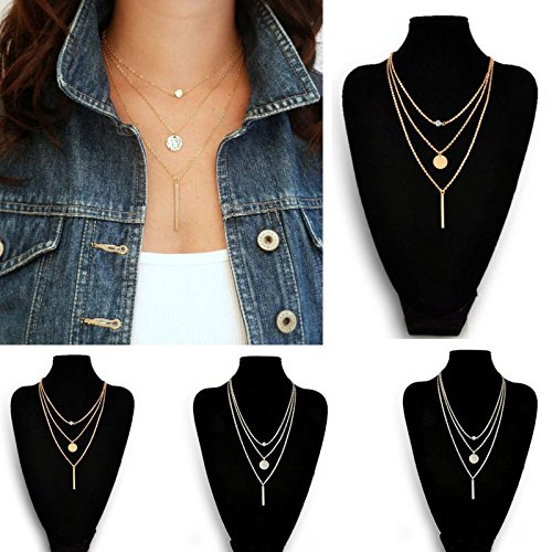 ZHCHL Fashion Women Delicate Geometry Charms Crystal Diamante 3 Layers Chains Necklace gifts Gold (Charms Gold Diamante)