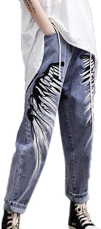 Huateng Jeans Street Style Wing Printed Para Mujer Jeans Personalizados De Cintura Alta Pantalones Harem Amazon Es Ropa Y Accesorios