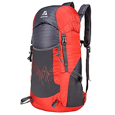 Mozone Large 40l Lightweight Travel Water Resistant Backpack/foldable & Packable Hiking Daypack (Red)
