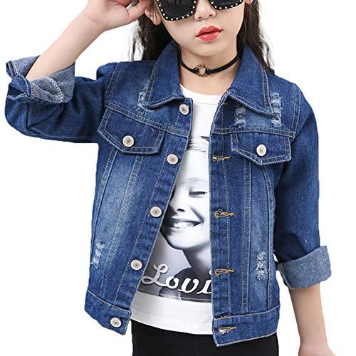 Girl Denim Jacket (Denim Jackets Girl Denim Jackets Classic Basic Button Down Coat Girls' Outwear (7-8Y 01)