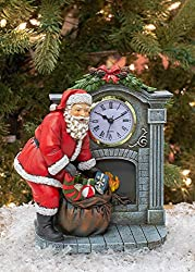 Santa Claus By Fireplace Mantel 8.25 inch Resin Stone Holiday Clock Figurine from Roman Inc