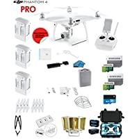 DJI Phantom 4 PRO Quadcopter Drone with 1-inch 20MP 4K Camera KIT + 3 Total DJI Batteries + 2 64GB Micro SDXC Cards + Reader + Snap on Prop Guards + Range Extender + Charging Hub + Hardcase