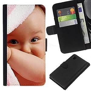 Planetar® Modelo colorido cuero carpeta tirón caso cubierta piel Holster Funda protección Para Sony Xperia Z1 / L39h / C6902 / C6903 ( Cute baby boy )