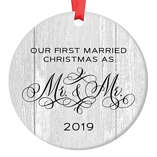 Gay Marriage 2019 Holiday Tree Ornament Wedding Gift for Newlyweds Our First 1st Married Christmas Mr & Mr Decoration 3