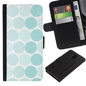 KLONGSHOP / Tirón de la caja Cartera de cuero con ranuras para tarjetas - Polka Dot Pattern White Teal - Samsung Galaxy S5 Mini, SM-G800, NOT S5 REGULAR!