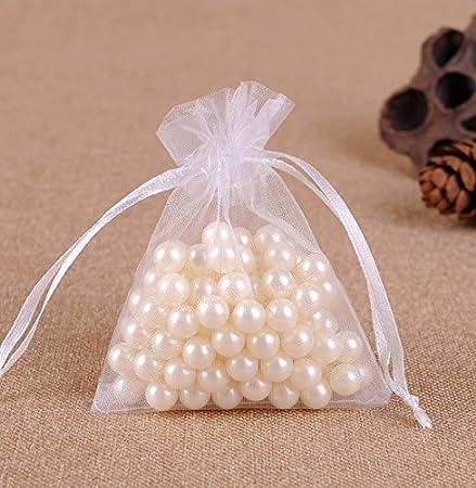 Gespout 100 unidades bolsitas de organza bolsa de regalo bonito bolsillos Cordón para joyas boda Partie y DIY Decoración, 9 x 12 cm, color blanco