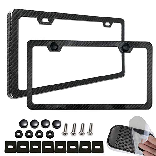 (Aootf License Plate Frame Carbon Fiber-2 Pack Black Aluminum License Plate Frames Metal Printing Carbon Fiber Pattern,License Plate Frame Screws Kits,Fine Size for Women Men)
