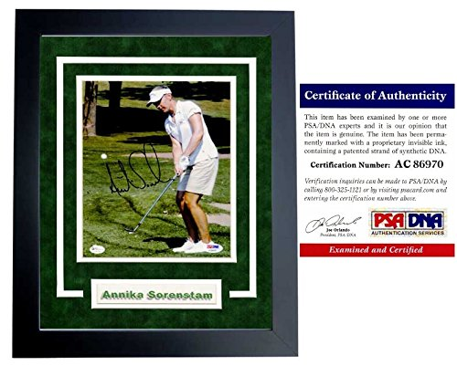 Annika Sorenstam Signed - Autographed Golf 8x10 inch Photo - BLACK CUSTOM DELUXE FRAME - PSA/DNA Certificate of Authenticity (COA) - Annika Sorenstam Autographed Golf