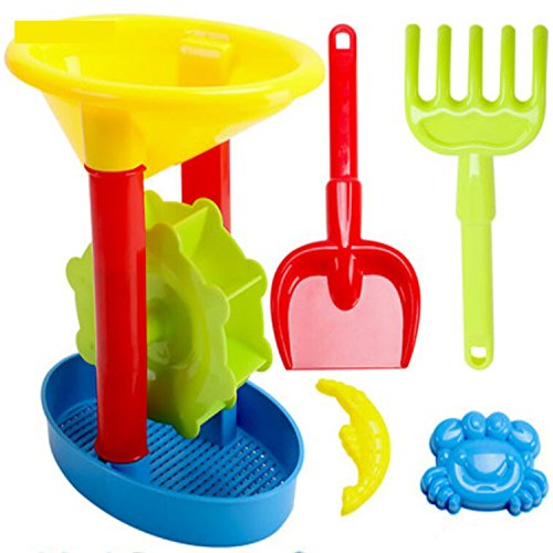 Plastic Windmill Sand Toy Shovel Mold Water Play Outdoor 5 Pieces Bath Toys For Children Learning (Alex Abc Zoo)